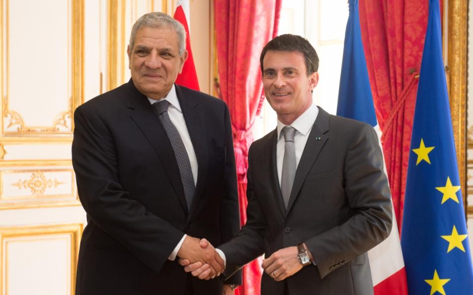 Manuel Valls et Ibrahim Mahlab, Premier ministre de la République arabe d'Égypte