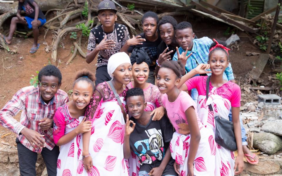 Groupe d'enfants à Grande Terre