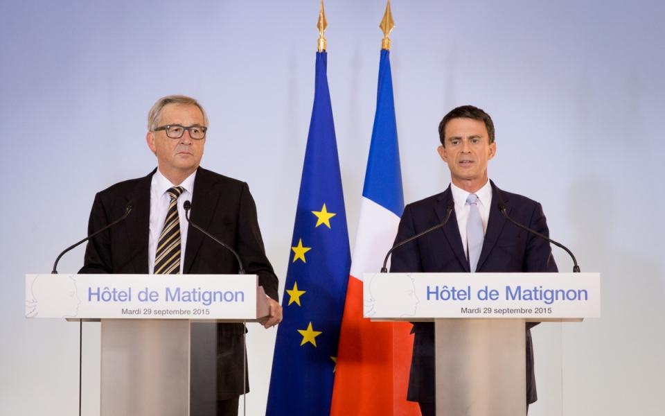 Manuel Valls et Jean-Claude Juncker lors du point presse