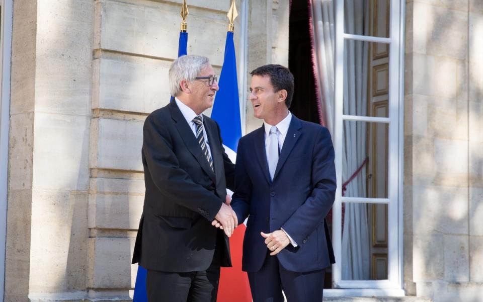 Manuel Valls et Jean-Claude Juncker, président de la Commission européenne