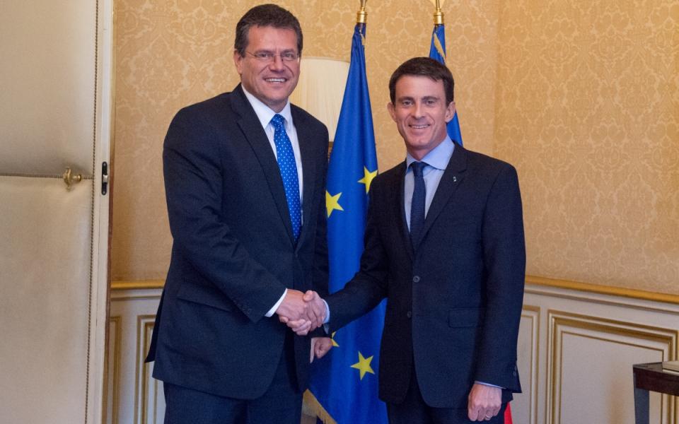 Manuel Valls et Maros Sefcovic, vice-président de la Commission européenne