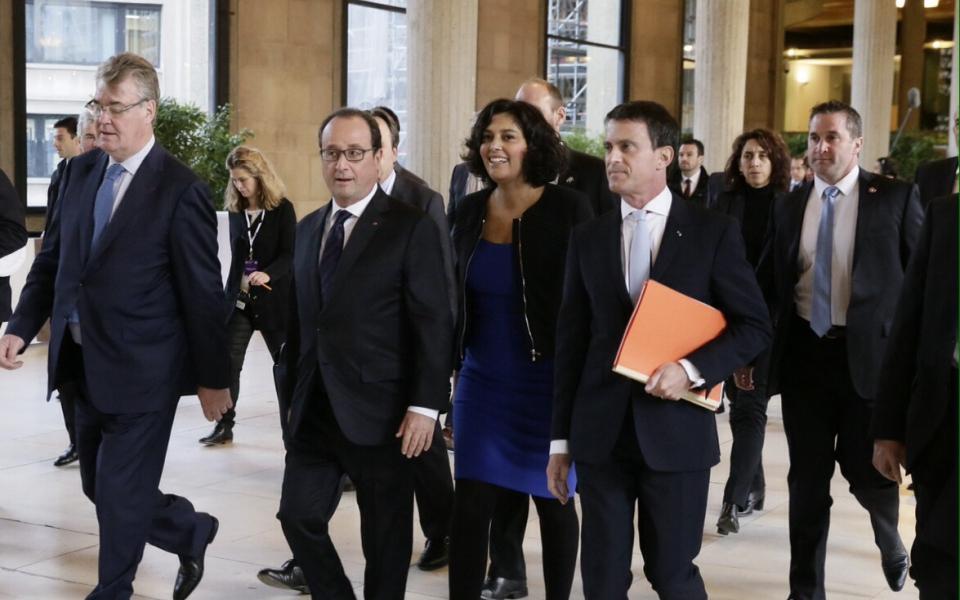 Le président de la République, Manuel Valls et Myriam El Khomri arrivent au Palais d'Iéna