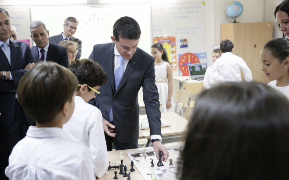 Manuel Valls lors de l'inauguration de l'école primaire française Deir Ghbar (Jordanie)
