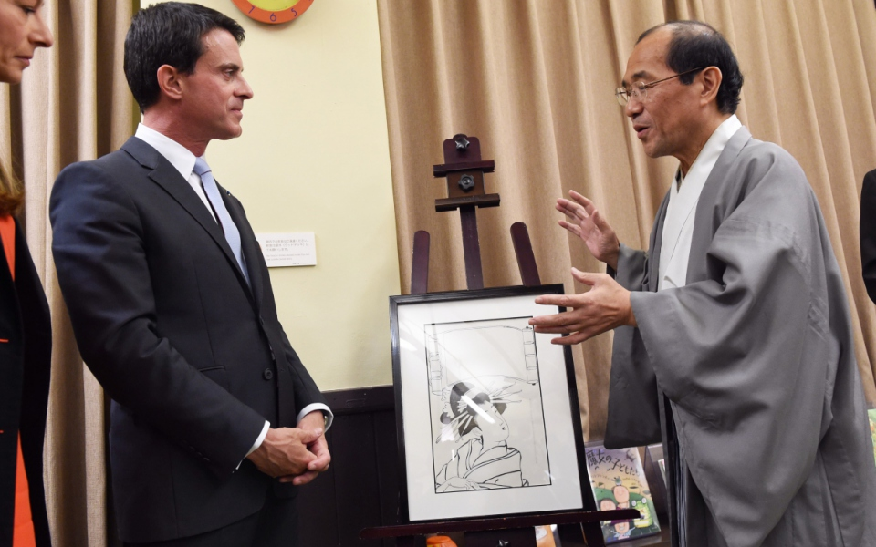 Manuel Valls au Musée international des mangas à Kyoto