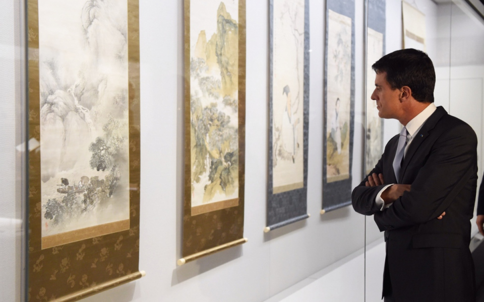 Manuel Valls au musée Hakusa Sonsô à Kyoto