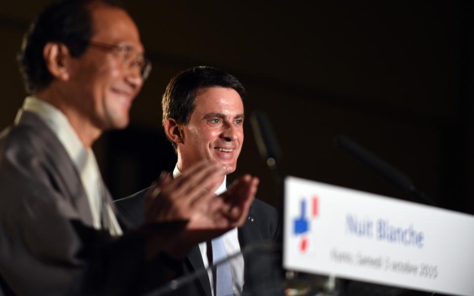 """Manuel Valls lors du lancement """"Nuit blanche"""" à Kyôto"""