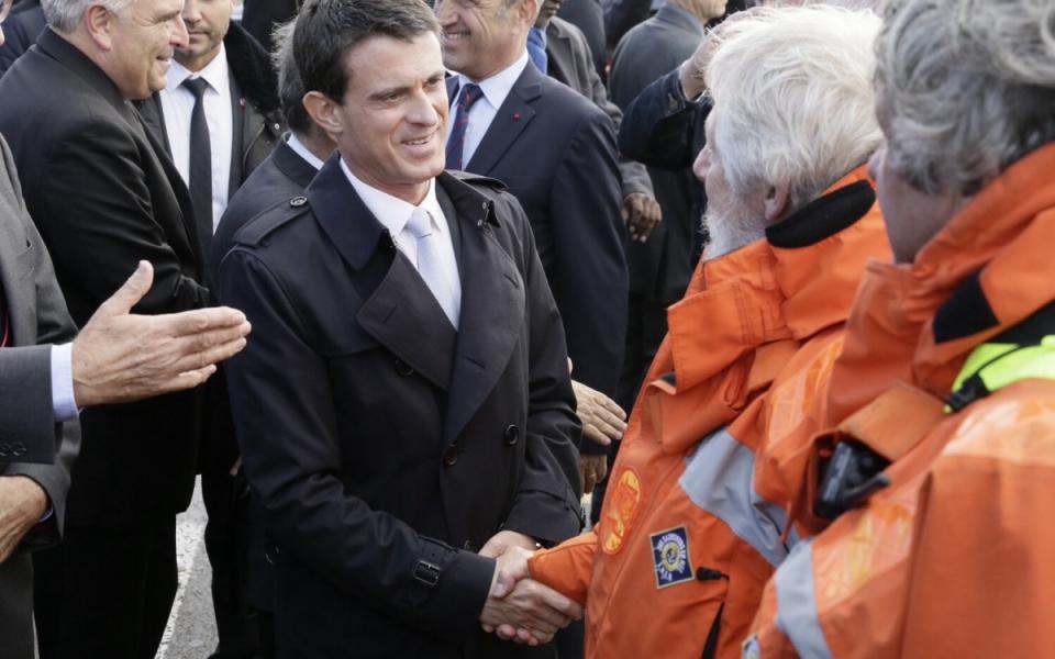 Rencontre de Manuels Valls avec le personnel de la Société nationale de sauvetage en mer