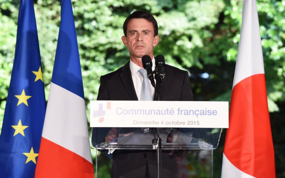 Manuel Valls lors de son allocution devant la communauté française de Tokyo