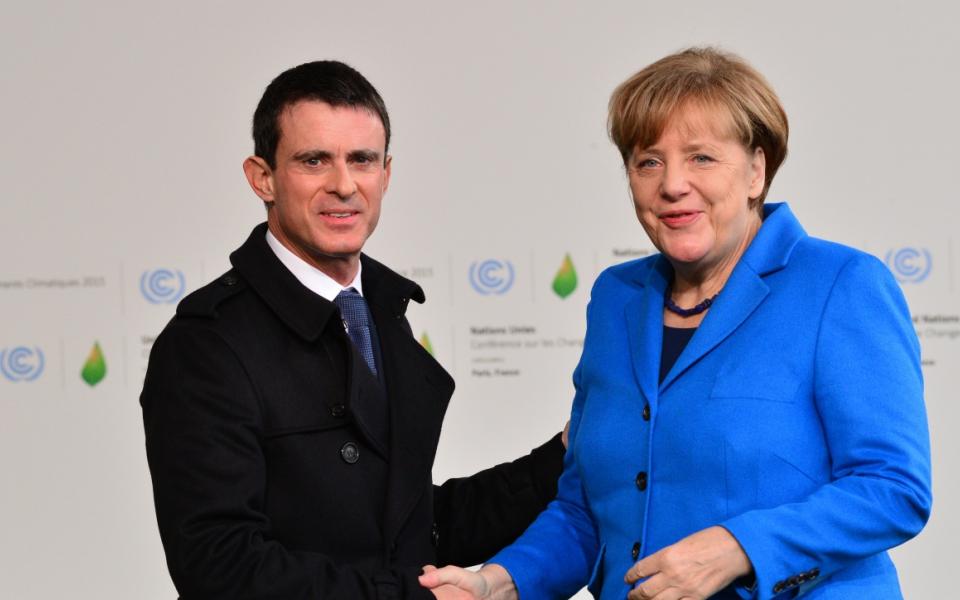 Manuel Valls et Angela Merkel, chancelière d'Allemagne