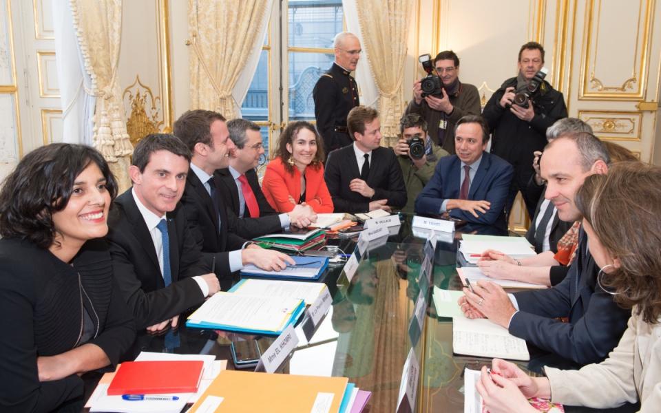 Manuel Valls s'entretient avec Laurent Berger, secrétaire général de la CFDT