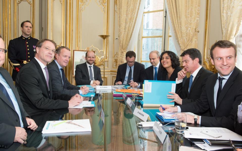 Manuel Valls s'entretient avec François Asselin, président de la CGPME