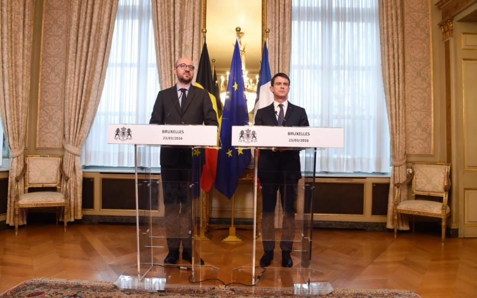Manuel Valls et Charles Michel lors du point presse conjoint