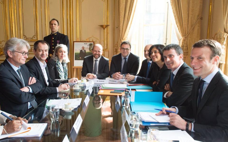 Manuel Valls s'entretient avec Jean-Claude Mailly, secrétaire général de FO