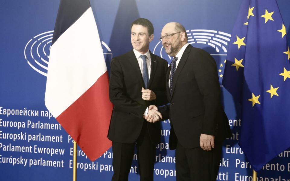 Manuel Valls et Martin Schulz, président du Parlement européen