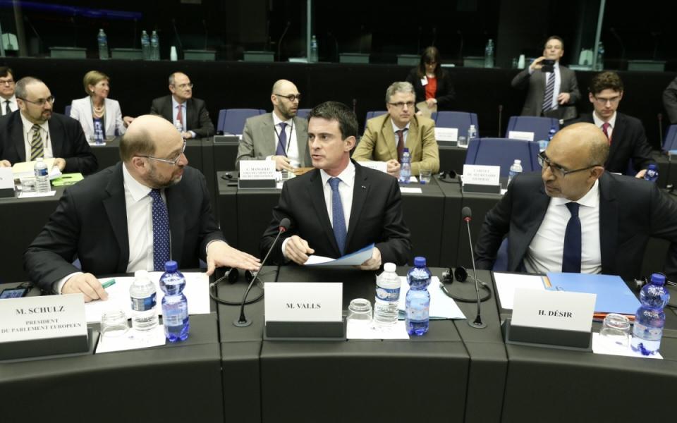 Manuel Valls assiste à la Conférence des présidents des groupes politiques du Parlement européen