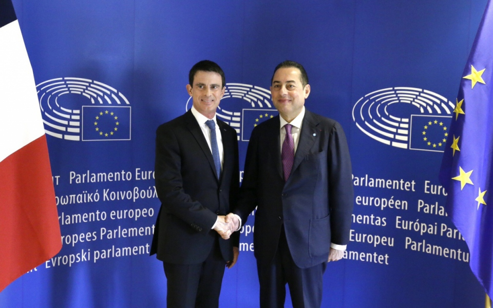 Manuel Valls et Gianni Pittella, président du groupe Socialistes et démocrates (S&D)