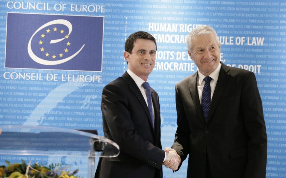 Manuel Valls et Thorbjørn Jagland, secrétaire général du Conseil de l'Europe