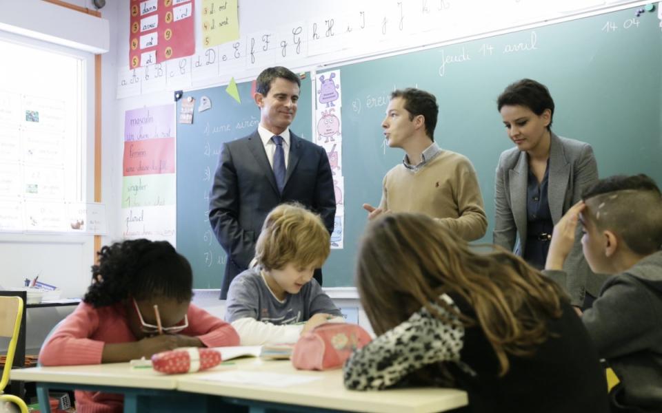 Manuel Valls rencontre les équipes éducatives en présence de Najat Vallaud-Belkacem