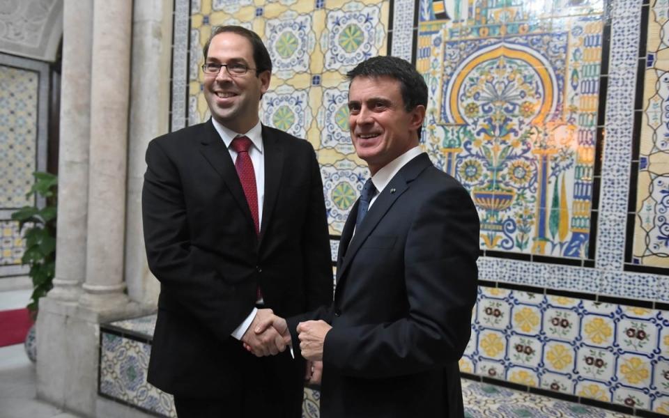 Manuel Valls et Youssef Chahed, chef du gouvernement de Tunisie