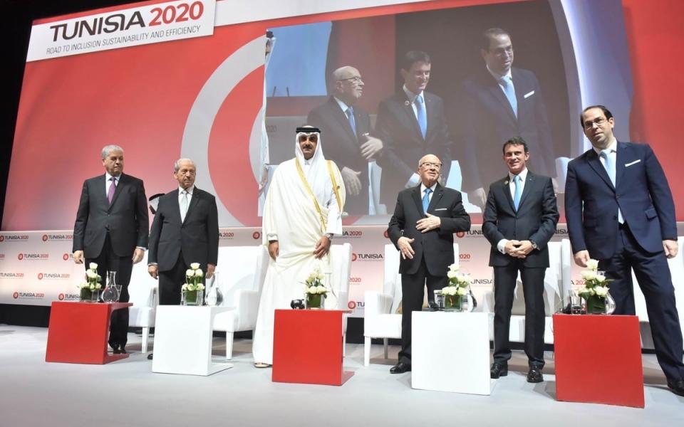 Ouverture de la conférence Tunisia 2020, conférence internationale de soutien à l'économie tunisienne et aux réformes, dont la France est co-parrain