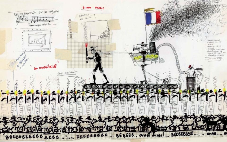 Croquis préparatoires de Jean-Paul Goude pour le défilé du Bicentenaire