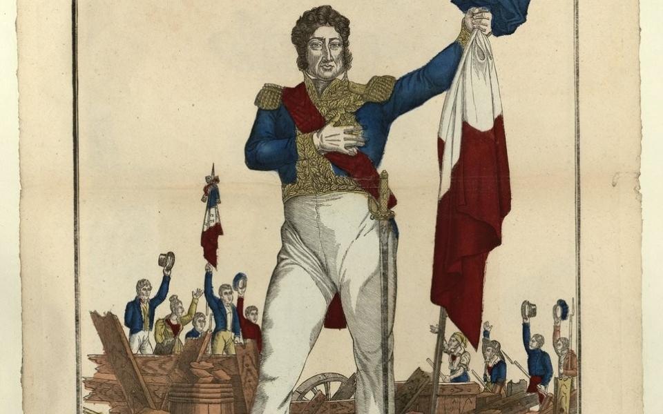 Le drapeau tricolore : portrait de Louis Philippe - Estampe de François Georgin, 1830