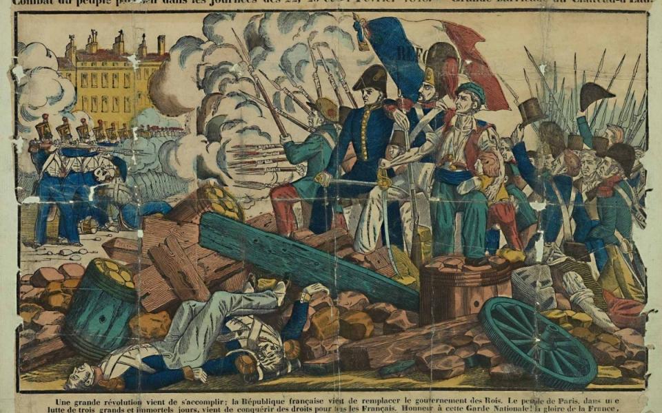 Coupure de presse sur les barricades des 23 et 24 février 1848 et la proclamation de la IIe République