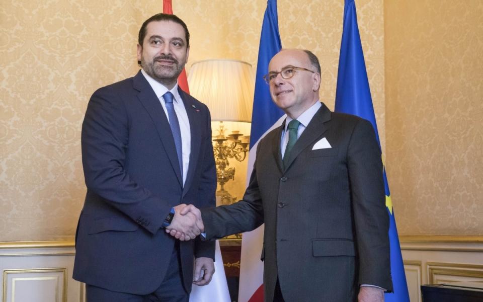 Bernard Cazeneuve aux côtés de Saad Hariri, Premier ministre du Liban
