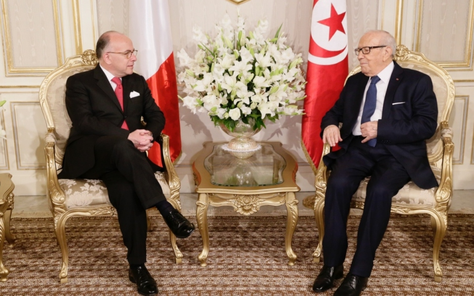 07/04 - Entretien entre Bernard Cazeneuve et Béji Caïd Essebsi au Palais présidentiel de Carthage