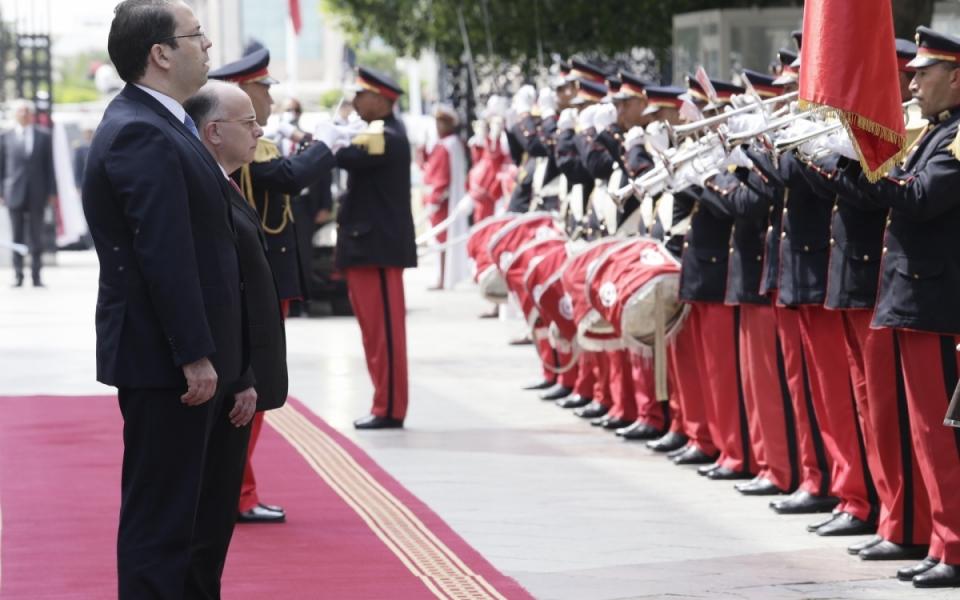 07/04 - Accueil officiel du Premier ministre à la Primature (Kasbah) en présence de son homologue tunisien, Youssef Chahed