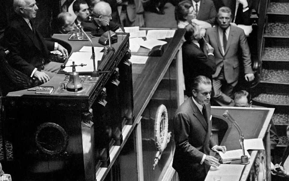 """""""Cette nouvelle société à laquelle nous aspirons, […] il est permis, il est même nécessaire d'en esquisser dès à présent les grands traits. Une nouvelle société. Cette société nouvelle, quant à moi, je la vois comme une société prospère, jeune, généreuse et libérée."""" Jacques Chaban-Delmas,16 septembre 1969"""