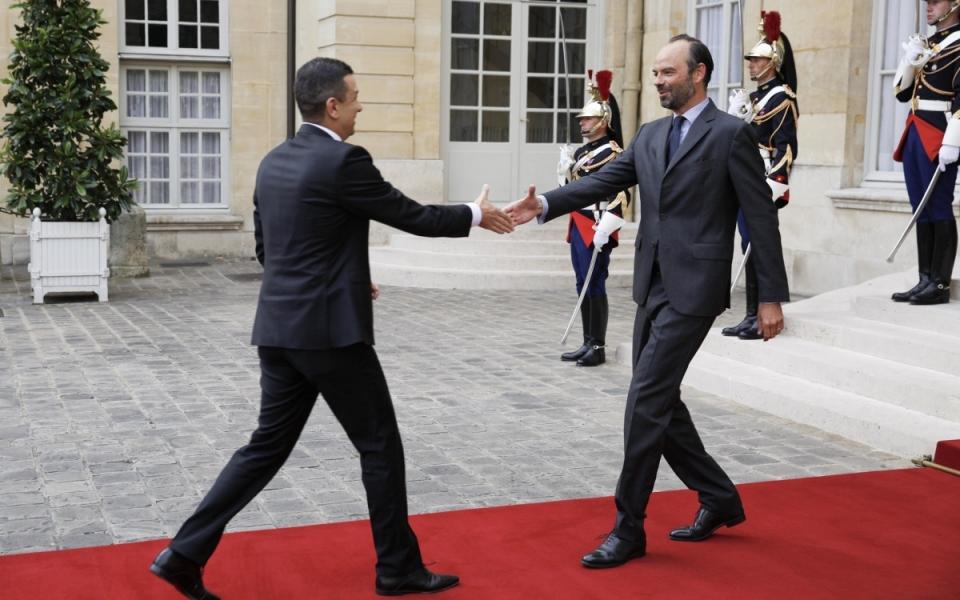 Édouard Philippe, Premier ministre, accueille Sorin Grindeanu, Premier ministre de Roumanie