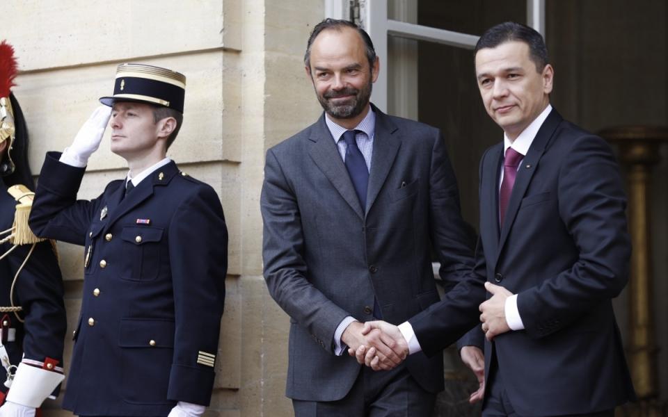 Édouard Philippe et Sorin Grindeanu, Hôtel de Matignon