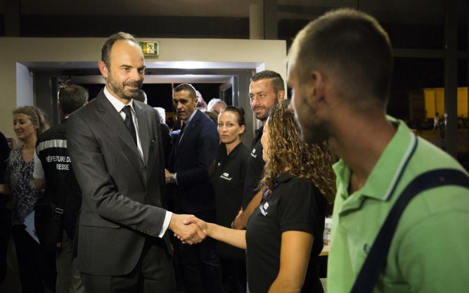 Arrivée du Premier ministre au Centre de sports et de loisirs Bormisport