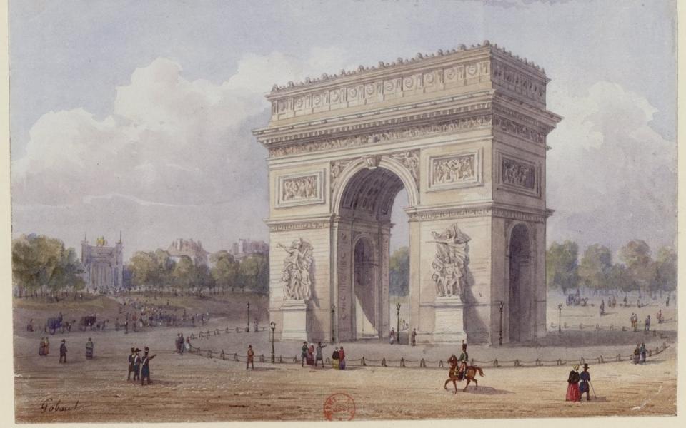 L'Arc de triomphe de l'Étoile dessiné en 1852 par  Gaspard Gobaut (1814-1882)