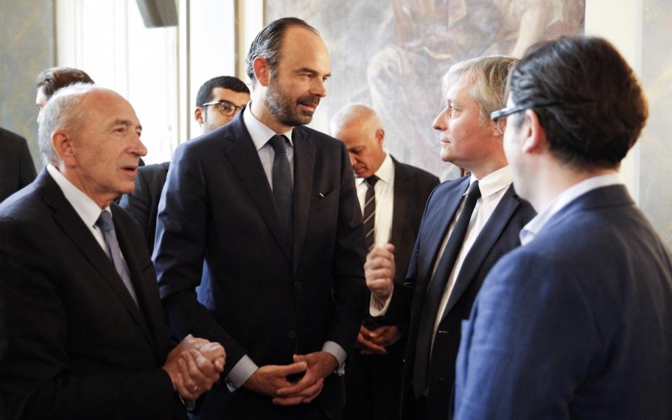 Edouard Philippe, Gérard Collomb et Laurent Hénart, maire de Nancy, le 1er juillet