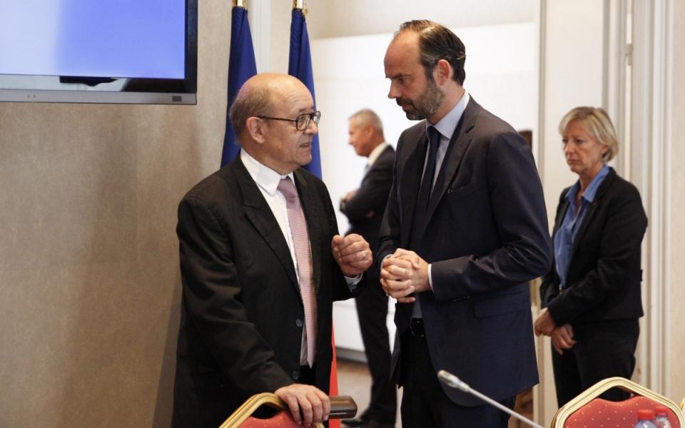 Edouard Philippe et Jean-Yves Le Drian, lors du séminiare gouvernemental, le 1er juillet
