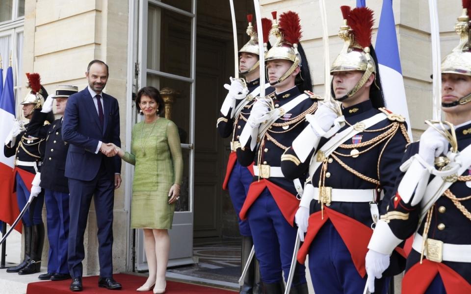 Édouard Philippe reçoit Doris Leuthard à l'Hôtel de Matignon