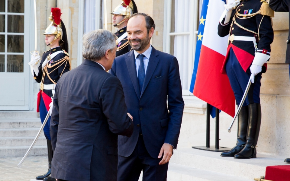 Edouard Philippe welcomes Antonio Tajani