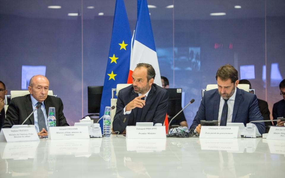 Édouard Philippe, Gérard Collomb et Christophe Castaner