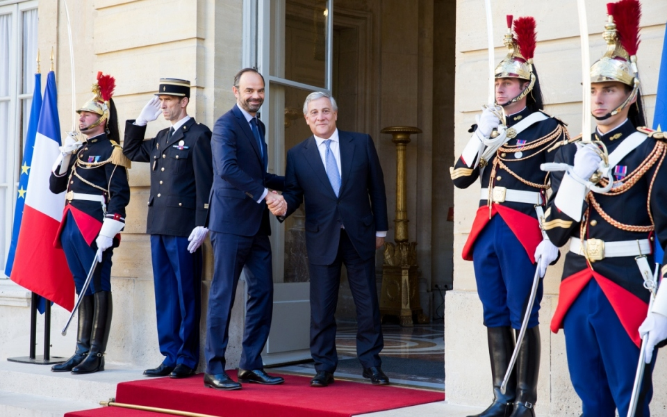 Edouard Philippe welcomes Antonio Tajani