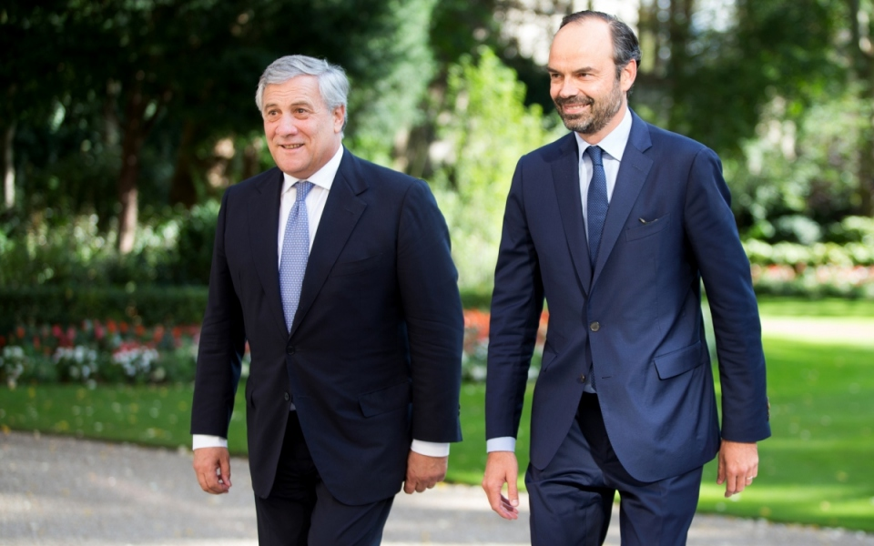 Edouard Philippe and Antonio Tajani in Matignon's garden
