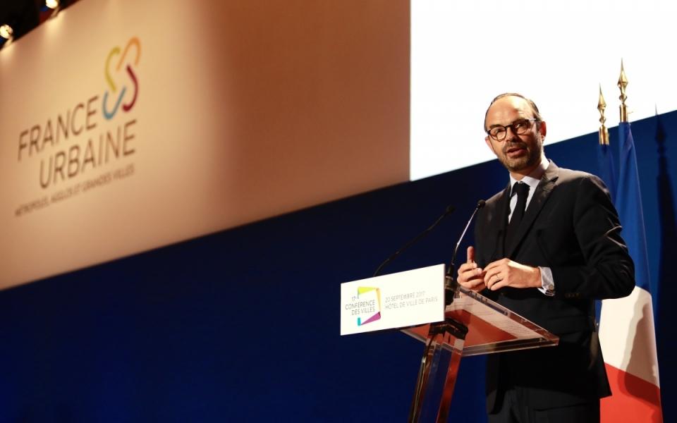 Le Premier ministre, Édouard Philiippe, prononce un discours au cours de la Conférence des Villes – France Urbaine