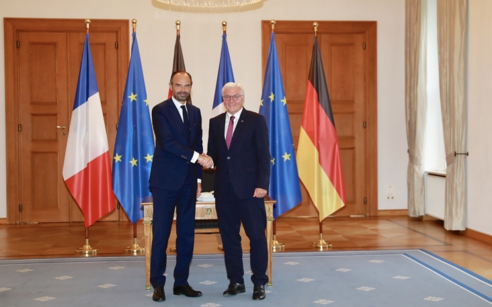 Édouard Philippe shaking hands with the President of the Federal Republic of Germany, Frank-Walter Steinmeier