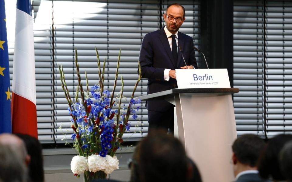 Discours d'Édouard Philippe devant les représentants des milieux économiques allemands.