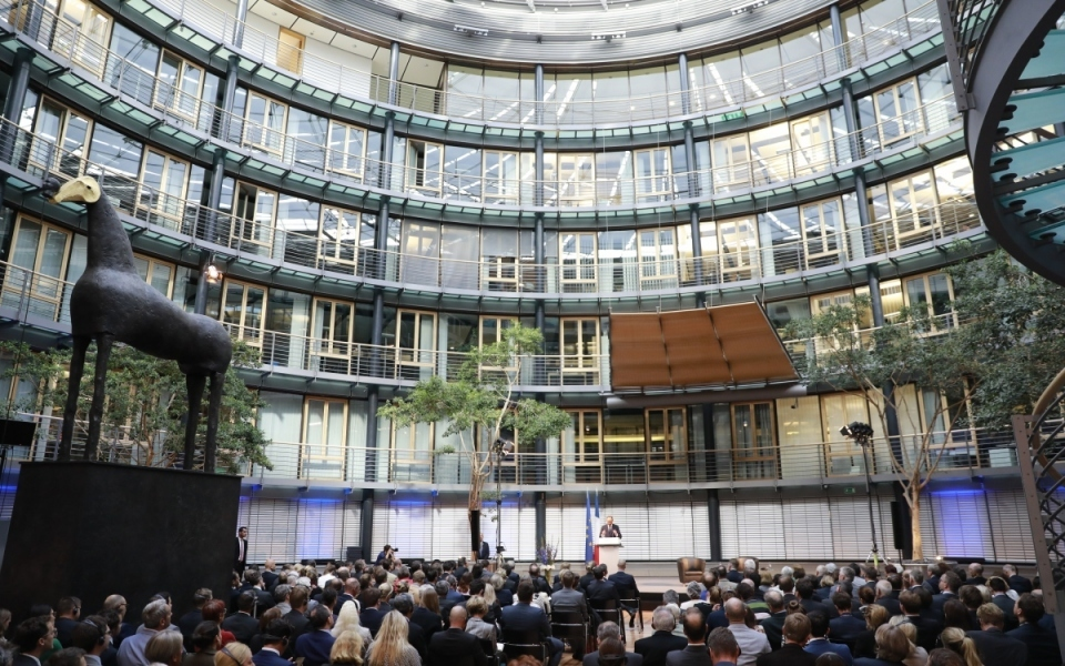 Room of the Allianz Forum with German economic decision-makers