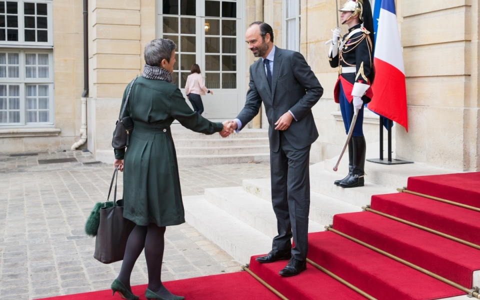 Édouard Philippe welcomes Margrethe Vestager