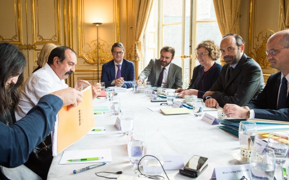 17/10 - Échanges entre Édouard Philippe, Muriel Pénicaud, Jean-Michel Blanquer et Philippe Martinez