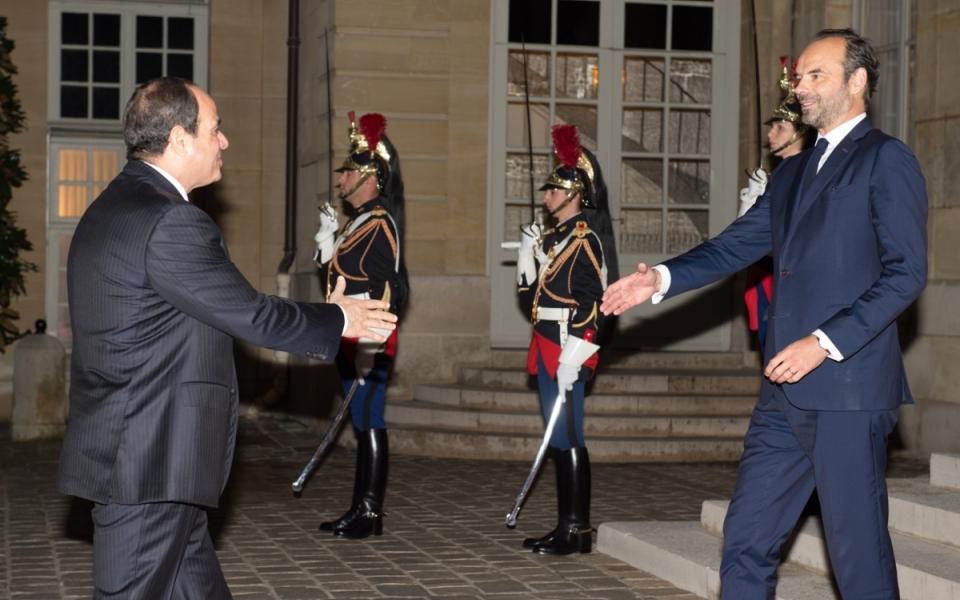 The President of the Arab Republic of Egypt, Abdel Fattah Al-Sissi, arrives at the Hôtel de Matignon