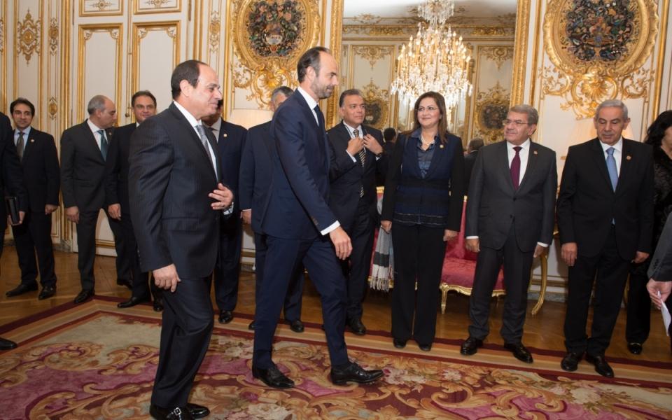Édouard Philippe aux côtés d'Abdel Fattah Al-Sissi
